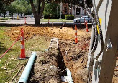 """Park Ave STA. 13+50 – Backfilled area over 6"""" PVC. Wet material from previous rain spread to dry (07/27/18)."""