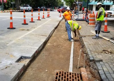 """Park Ave STA. 16+50 – Level and forms set for curb over 15"""" storm sewer and flowable fill. Storm Structure I-43 (bottom) (07/23/18)."""