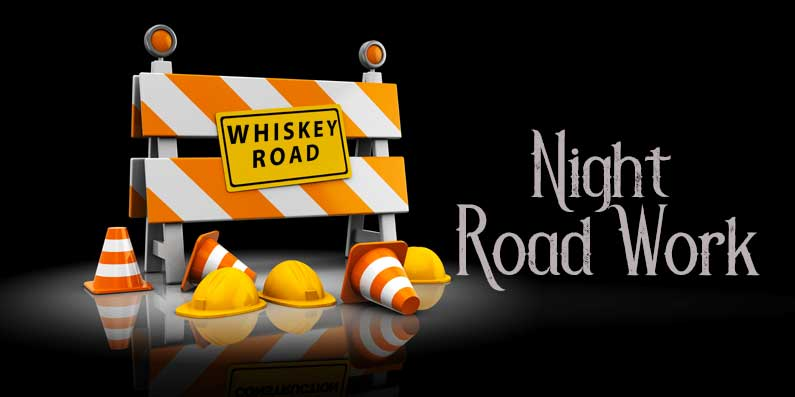 Night Road Work On Whiskey Road