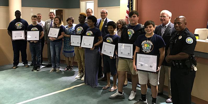 City Council Recognizes The First Junior Citizen's Academy Graduates.